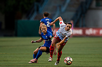 Seattle, WA - Wednesday, June 28, 2017: Vanessa DiBernardo and Jess Fishlock during a regular season National Women's Soccer League (NWSL) match between the Seattle Reign FC and the Chicago Red Stars at Memorial Stadium.