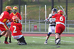 Mission Viejo, CA 05/14/11 - Matt Meissner (Mission Viejo #2), Daniel Marx (Mission Viejo #6), Luke Mullan (Loyola #9) and Kurt denburg (Mission Viejo #22) in action during the Division 2 US Lacrosse / CIF Southern Section Championship game between Mission Viejo and Loyola at Redondo Union High School.