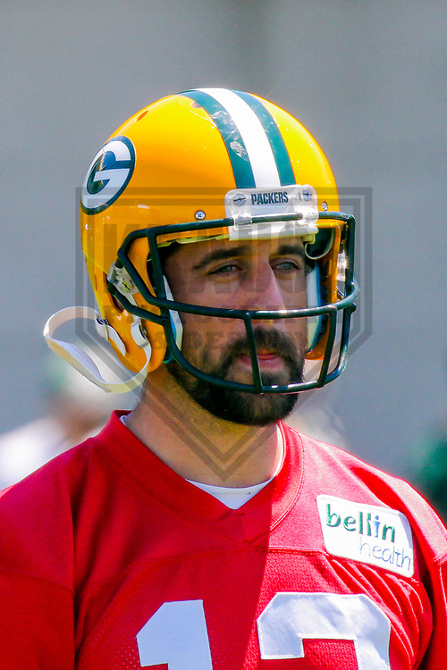 Green Bay Packers quarterback Aaron Rodgers (12) during an OTA on June 6, 2017 at Clarke Hinkle Field in Green Bay, Wisconsin. (Brad Krause/Krause Sports Photography)