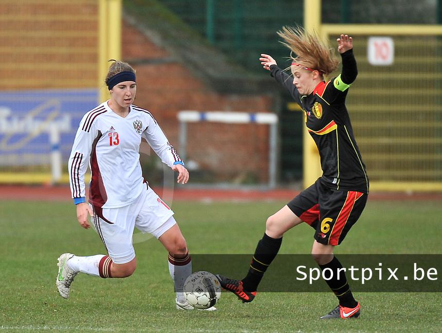 Russia U19 - Belgium U19 : Julie Biesmans (6) and Anastasia Shevchenko (13).foto DAVID CATRY / Nikonpro.be