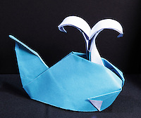 OrigamiUSA 2014 exhibition. Origami whale design by Ryan Dong