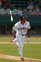 Down East Wood Ducks outfielder LeDarious Clark (8) at bat during a game against the Salem Red Sox at Grainger Stadium on April 16, 2017 in Kinston, North Carolina. Salem defeated Down East 9-2. (Robert Gurganus/Four Seam Images)