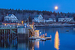 Full moon over Prospect Harbor, Gouldsboro, ME, USA