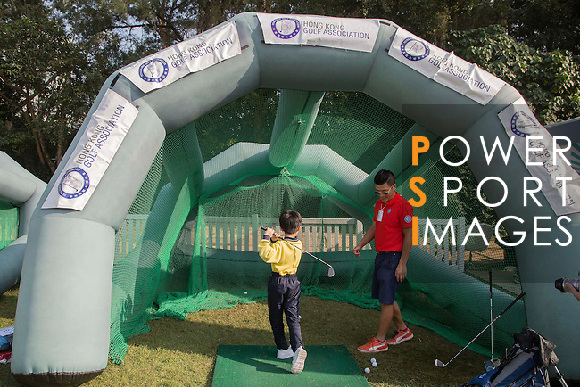 Children engage in fun activities at the Spectator village during the 58th UBS Hong Kong Golf Open as part of the European Tour on 08 December 2016, at the Hong Kong Golf Club, Fanling, Hong Kong, China. Photo by Vivek Prakash / Power Sport Images