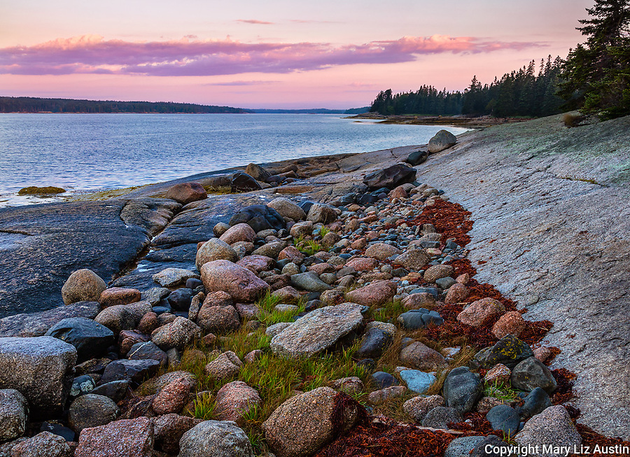 Deer Isle, Maine: Sunrise on Jericho Bay with colorful rocks on the shoreline