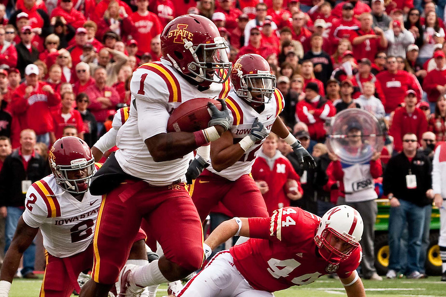24 October 2009: Iowa State cornerback David Sims an interception against Nebraska at Memorial Stadium, Lincoln, Nebraska. Iowa State defeats Nebraska 9 to 7.