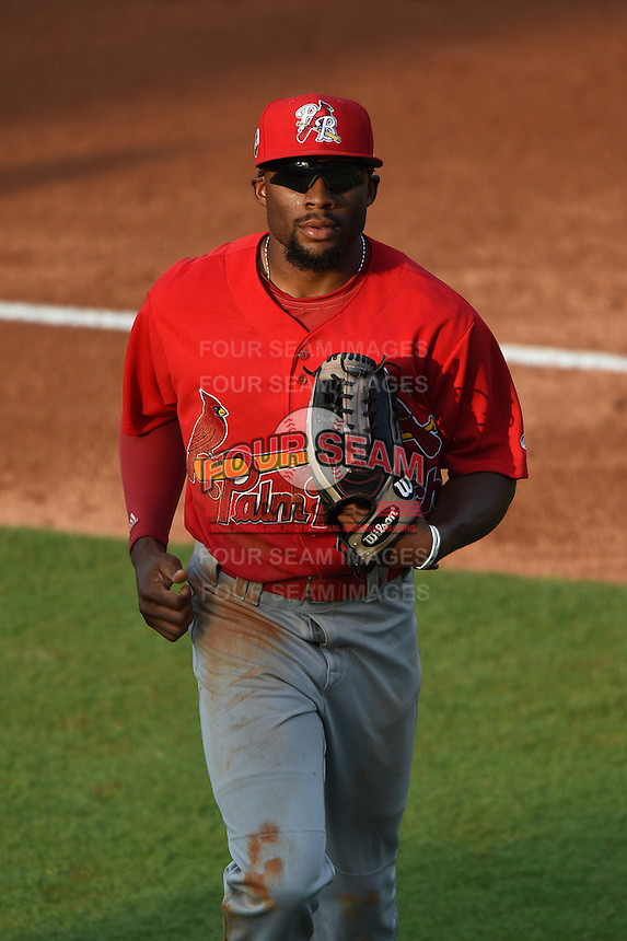 Palm Beach Cardinals outfielder C.J. McElroy (3) jogs into the dugout during a game against the Lakeland Flying Tigers on April 13, 2015 at Joker Marchant Stadium in Lakeland, Florida.  Palm Beach defeated Lakeland 4-0.  (Mike Janes/Four Seam Images)