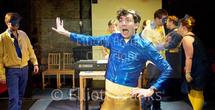 Ballo <br /> by Adam Spreadbury-Maher<br /> Operaupclose<br /> at the King's Head Theatre, London, Great Britain <br /> 26th April 2013 <br /> press photocall<br /> <br /> Becca Marriott as Amelia<br /> Edward Hughes as Riccardo<br /> Christopher Jacklin as Renato<br /> Olivia Barry as Ulrica<br /> Martin Milnes as Oscar<br /> Dickson Gough as Tom <br /> <br /> Photograph by Elliott Franks