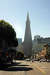 The Transamerica Pyramid is the tallest skyscraper in the San Francisco skyline. The building no longer houses the headquarters of the Transamerica Corporation, who moved their U.S. headquarters to Baltimore, Maryland, but it is still associated with the company and is depicted in the company's logo. Designed by architect William Pereira and built by Hathaway Dinwiddie Construction Company, at 853 ft (260 m), on completion in 1972 it was the eighth tallest building in the world.[5]