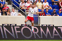 Brandon Barklage (25) of the New York Red Bulls. The New York Red Bulls defeated DC United 3-2 during a Major League Soccer (MLS) match at Red Bull Arena in Harrison, NJ, on June 24, 2012.