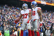 Landover, MD - December 9, 2018: New York Giants wide receiver Sterling Shepard (87) celebrates with New York Giants tight end Evan Engram (88) after scoring a touchdown during the  game between New York Giants and Washington Redskins at FedEx Field in Landover, MD.   (Photo by Elliott Brown/Media Images International)