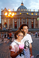 Marcia in occasione del 30esimo anniversario della scomparsa di Emanuela Orlandi, da piazza Sant'Apollinare, Roma, dove la ragazza fu vista per l'ultima volta, a Piazza San Pietro, Citta' del Vaticano, 22 giugno 2013. Al centro, Maria Orlandi, madre di Emanuela, con una delle sorelle della ragazza scomparsa.<br /> Partecipants attend a march to mark the 30th anniversary of the disappearance of Emanuela Orlandi, from piazza Sant'Apollinare, in Rome, where the 15-years-old girl was seen for the last time, to St. Peter's square at the Vatican, 22 June 2013. At left, Maria Orlandi, mother of Emanuela, with a sister of the missing girl.<br /> UPDATE IMAGES PRESS/Riccardo De Luca
