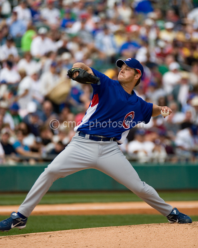 Mar 15, 2008; Tucson, AZ, USA; Chicago Cubs pitcher Rich Hill (53) throws a pitch in the bottom of the 1st inning in front of a sell-out crowd at Tucson Electric Park.  The White Sox won 5-3.