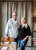 Co-owners of Bittersweet, Olav Peterson and Melissa Severson a the restaurant in Denver, Colorado, Tuesday, August 23, 2017. Dishes photographed include a Wagyu hanger steak,  Alaskan halibut, and the Iberico pork.<br /> <br /> Photo by Matt Nager