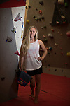 Mcc0078282 . Daily Telegraph<br /> <br /> DT Sport<br /> <br /> Shauna Coxsey - World Bouldering champion photographed at the Climbing Hangar indoor climbing wall in Fulham for a Jim White interview .<br /> <br /> 3 August 2017