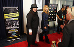 LOS ANGELES, CA - APRIL 18:  Ann and Nancy Wilson of Heart talk to the media at the 2013 Rock and Roll Hall of Fame Induction Ceremony at the Nokia Theatre in Los Angeles, CA. (Photo by Dave Eggen/Inertia)
