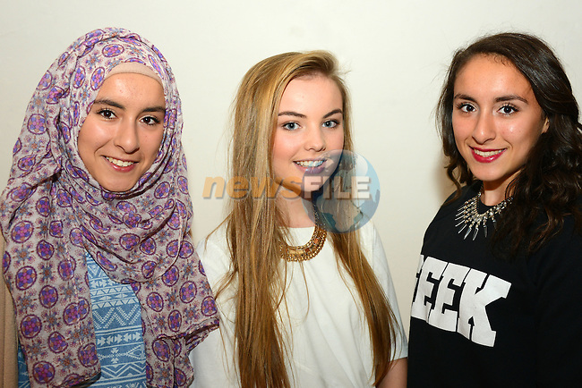 Twins Amina (left) and Iesha Moustafa and Charlotte Johnston at the short film screenings in the Droichead Arts Centre.