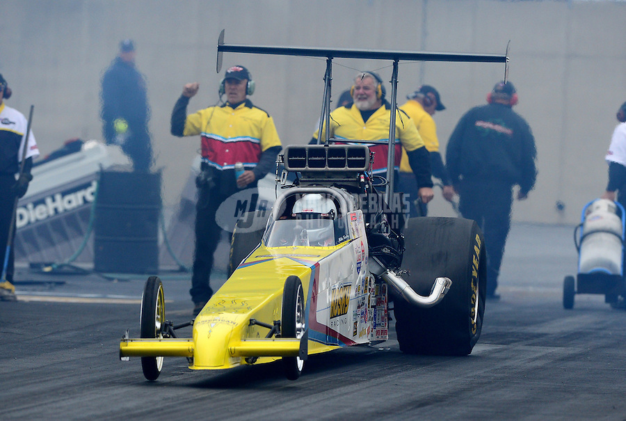 Oct. 8, 2012; Mohnton, PA, USA: NHRA top alcohol dragster driver Mike Kosky during the Auto Plus Nationals at Maple Grove Raceway. Mandatory Credit: Mark J. Rebilas-