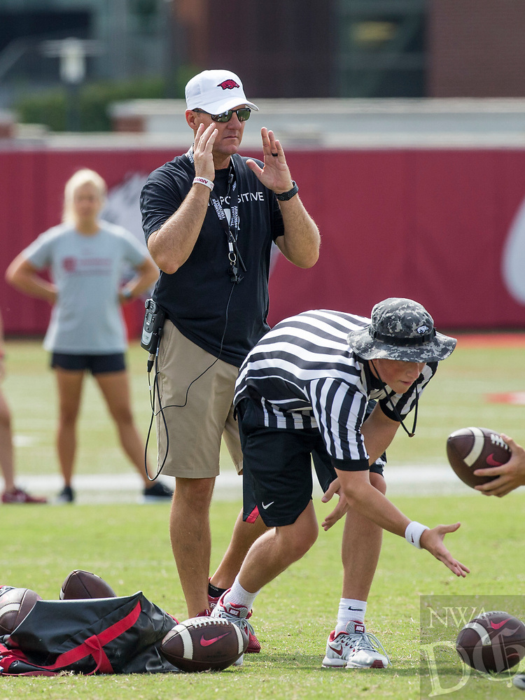 NWA Democrat-Gazette/BEN GOFF @NWABENGOFF<br /> Chad Morris, Arkansas head coach, leads practice Wednesday, Aug. 8, 2018, at the Arkansas practice field in Fayetteville.