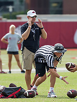 NWA Democrat-Gazette/BEN GOFF @NWABENGOFF<br /> Chad Morris, Arkansas head coach, leads practice Wednesday, Aug. 8, 2018, at the Arkansas practice field in Fayetteville.