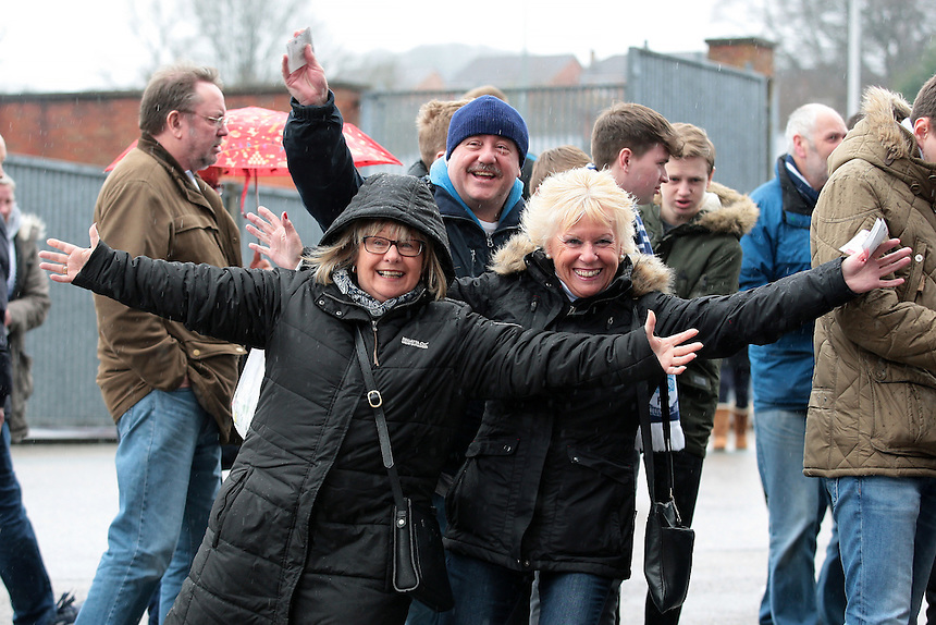 Preston North End fans wait outside the ground<br /> <br /> Photographer David shipman/CameraSport<br /> <br /> Football - The Football League Sky Bet Championship - Blackburn Rovers v Preston North End - Saturday 2nd April 2016 - Ewood Park - Blackburn<br /> <br /> &copy; CameraSport - 43 Linden Ave. Countesthorpe. Leicester. England. LE8 5PG - Tel: +44 (0) 116 277 4147 - admin@camerasport.com - www.camerasport.com