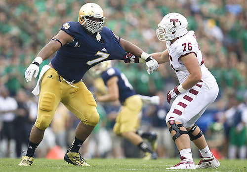 August 31, 2013:  Notre Dame Fighting Irish defensive line Stephon Tuitt (7) and Temple offensive lineman Cody Booth (76) battle at the line during NCAA Football game action between the Notre Dame Fighting Irish and the Temple Owls at Notre Dame Stadium in South Bend, Indiana.  Notre Dame defeated Temple 28-6.