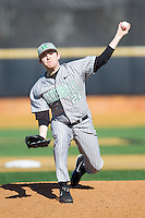 Marshall Thundering Herd relief pitcher Caleb Ross (21) in action against the Georgetown Hoyas at Wake Forest Baseball Park on February 15, 2014 in Winston-Salem, North Carolina.  The Thundering Herd defeated the Hoyas 5-1.  (Brian Westerholt/Four Seam Images)