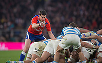 Twickenham, United Kingdom. Referee, Pascal GAUZERE, spot's an infringment, int the Argentina scrum, during the Old Mutual Wealth Series Rest Match: England vs Argentina, at the RFU Stadium, Twickenham, England, <br /> <br /> Saturday  26/11/2016<br /> <br /> [Mandatory Credit; Peter Spurrier/Intersport-images]