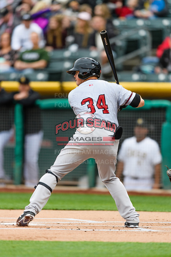 Christian Arroyo (34) of the Sacramento River Cats at bat against the Salt Lake Bees in Pacific Coast League action at Smith's Ballpark on April 11, 2017 in Salt Lake City, Utah.  The River Cats defeated the Bees 8-7. (Stephen Smith/Four Seam Images)