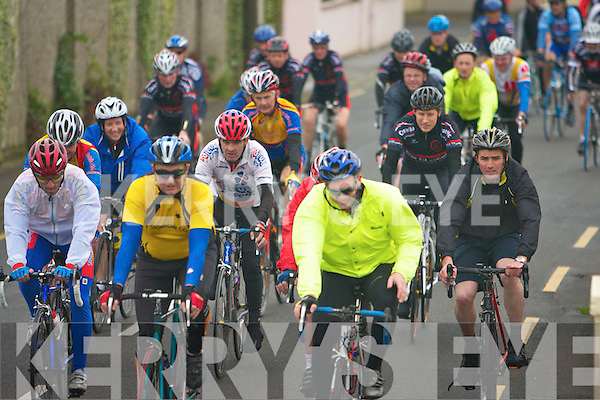 FREE WHEELING: Cyclists taking part in the Currow Cycling Club annual fundraising cycle in Castleisland on Sunday.