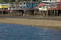 Chiloe, the archipelago to the south of Chile's lake district, is a largely rural backwater. This is one of the few places where you can still see palafitos, the picturesque traditional houses built on stilts on beaches and esturaries. The palafitos pictured here are in the capital of Chiloe, Castro, where the greatest concentration of them is to be found.