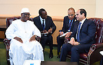 Egypt's president Abdel Fattah Al Sisi meets with Mali's president Ibrahme Boubacar Keita during the meetings of the UN General Assembly in Manhattan, New York, September 26, 2015. More than 150 world leaders are expected to attend the U.N. Sustainable Development Summit from September 25-27 at the United Nations in New York to formally adopt an ambitious new sustainable development agenda a press statement by the U.N. stated. Photo by Egyptian President Office