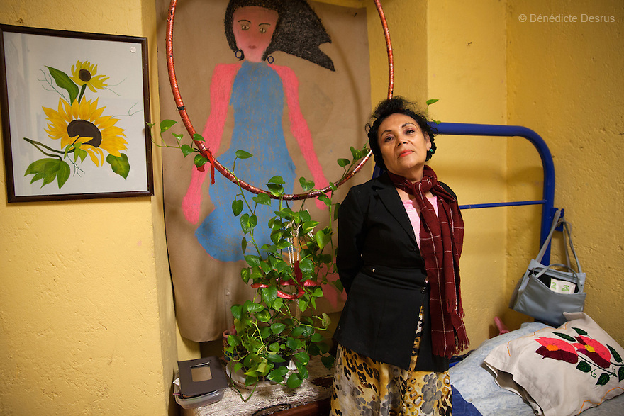 Portrait of Norma Angelica, a resident of Casa Xochiquetzal, at the shelter in Mexico City, Mexico on January 6, 2015. Casa Xochiquetzal is a shelter for elderly sex workers in Mexico City. It gives the women refuge, food, health services and a space to learn about their human rights, as well as courses to help them rediscover their self-confidence and deal with traumatic aspects of their lives. Casa Xochiquetzal provides a space to age with dignity for a group of vulnerable women who are often invisible to society at large. It is the only such shelter existing in Latin America. Photo by Bénédicte Desrus