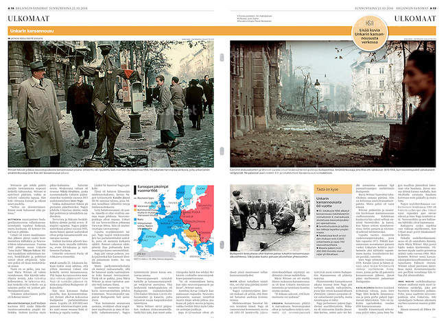Helsingin Sanomat (leading Finnish daily) on the 60. anniversary of the 1956 Hungarian uprising, October 2016<br />