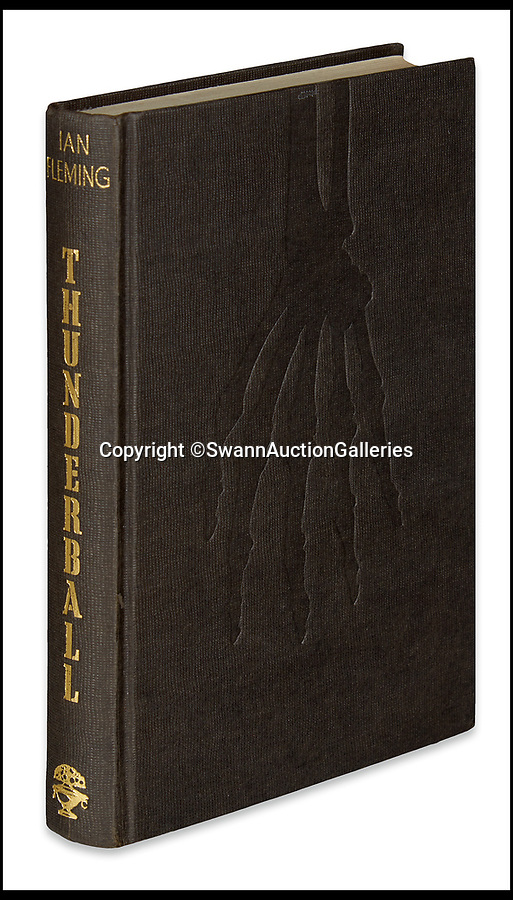 BNPS.co.uk (01202)558833<br /> Pic:  SwannAuctionGalleries/BNPS<br /> <br /> A first edition of Thunderball (1961), expected to fetch £9,300 ($12,000).<br /> <br /> A single owner collection of historic James Bond first editions inscribed by Ian Fleming have emerged for sale for £55,000. ($70,000)<br /> <br /> The marquee lot is a first edition of Goldfinger (1959) given by the author to legendary golfer Sir Henry Cotton, who won The Open three times.<br /> <br /> Fleming references the chapters containing the classic golf match between Bond and the villain Auric Goldfinger, whose caddy was Oddjob, in the book.<br /> <br /> The collection of 13 books is being sold by a private collector with US based Swann Auction Galleries.