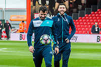 Jordi Amat and Borja Gonzalez of Swansea inspect the pitch  prior to the Premier League match between AFC Bournemouth and Swansea City  at Vitality Stadium, Bournemouth, England, UK. Saturday 18 March 2017