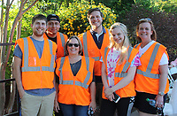 NWA Democrat-Gazette/CARIN SCHOPPMEYER Daniel Jones (from left), Felipe Diaz, Dawn James, Spencer Wicker, Laurel McCabe and Candace McCabe help out at the Greening of the Garden.