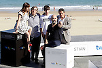 "Actors Francesc Colomer (3R),  Javier Camara (2R), actress Natalia de Molina, director David Trueba (L) and actor Jorge Sanz (R) posse in the photocall of the ""Vivir es facil con los ojos cerrados"" film presentation during the 61 San Sebastian Film Festival, in San Sebastian, Spain. September 24, 2013. (ALTERPHOTOS/Victor Blanco)"