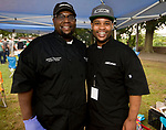 WATERBURY, CT-090818JS08--James Thompson and Donte Jones, both chef's and owner of The Art of Yum in Waterbury, at the 13th annual Brass City Brew &amp; 'Que brew festival and barbecue Saturday at Library Park in Waterbury. <br />  Jim Shannon Republican American