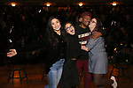 """Lauren Boyd, Sabrina Imamura, Bryan Terrell Clark and Holli Campbell attends the cast Q & A during The Rockefeller Foundation and The Gilder Lehrman Institute of American History sponsored High School student #EduHam matinee performance of """"Hamilton"""" at the Richard Rodgers Theatre on October 24, 2018 in New York City."""