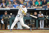 Michigan Wolverines first baseman Jimmy Kerr (15) swings the bat against the Vanderbilt Commodores during Game 2 of the NCAA College World Series Finals on June 25, 2019 at TD Ameritrade Park in Omaha, Nebraska. Vanderbilt defeated Michigan 4-1. (Andrew Woolley/Four Seam Images)