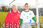 IRELAND'S CALL: Shane McLoughlin of St Brendans Park FC who has been called up to the Irish U16 squad and English Championship side Ipswich Town with Danny Diggins head coach of St Brendans Park FC.