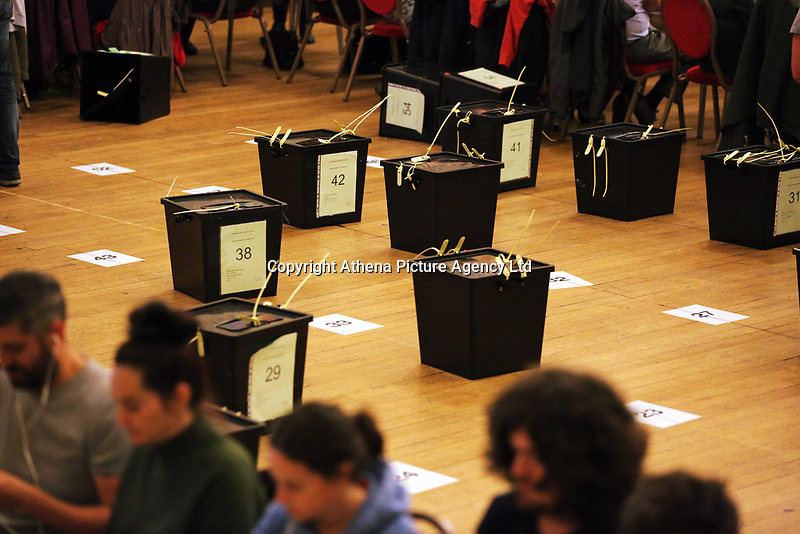 Pictured: Ballot boxes on the floor. Friday 09 June 2017<br />Re: Counting of ballots at Brangwyn Hall for the general election in Swansea, Wales, UK