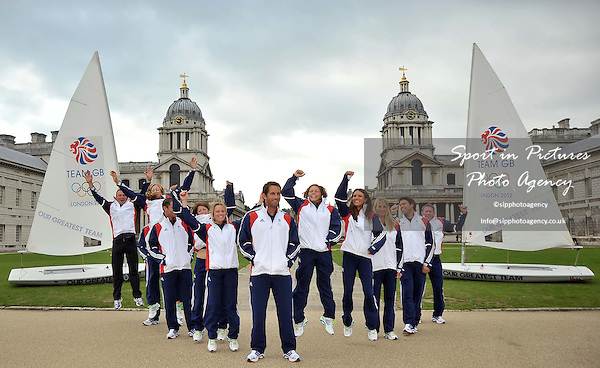 (l to r) Iain Percy OBE, Annie Lush, Nick Dempsey, Lucy Macgregor, Hannah Mills, Ben Ainslie CBE, Kate Macgregor, Bryony Shaw, Saskia Clark and Andrew Simpson MBE Jump in the air.TeamGB announces the first athletes to be selected for the London 2012 Olympics. Old Naval College. Greenwich. London. 20/09/2011. MANDATORY Credit Sportinpictures/Garry Bowden - NO UNAUTHORISED USE - 07837 394578