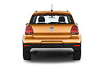 Straight rear view of a 2015 Volkswagen Polo Cross 5 Door Hatchback 2WD Rear View  stock images