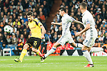 Borussia Dortmund Sokratis Papastathoppulos, Real Madrid's James Rodriguez  during Champions League match between Real Madrid and Borussia Dortmund  at Santiago Bernabeu Stadium in Madrid , Spain. December 07, 2016. (ALTERPHOTOS/Rodrigo Jimenez)