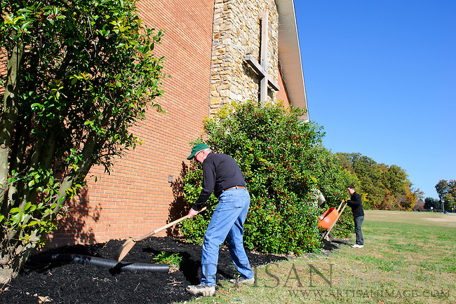 Members of Westminster Presbyterian Church work on sprucing up the Lake Brandt Campus as part of Church's One Great Weekend of Service on Sunday November 6, 2011. (Chris English/Artisan Image © 2011)