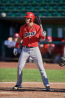 Brandon Marsh (36) of the Orem Owlz bats against the Ogden Raptors at Lindquist Field on September 10, 2017 in Ogden, Utah. Ogden defeated Orem 9-4. (Stephen Smith/Four Seam Images)