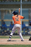 Baltimore Orioles Tanner Kirk (12) at bat during a minor league Spring Training game against the Tampa Bay Rays on March 29, 2017 at the Buck O'Neil Baseball Complex in Sarasota, Florida.  (Mike Janes/Four Seam Images)