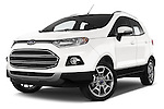 Stock pictures of low aggressive front three quarter view of a 2015 Ford ECOSPORT TITANIUM 5 Door SUV Low Aggressive